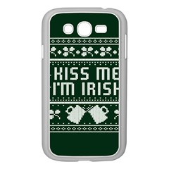 Kiss Me I m Irish Ugly Christmas Green Background Samsung Galaxy Grand Duos I9082 Case (white)