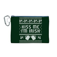Kiss Me I m Irish Ugly Christmas Green Background Canvas Cosmetic Bag (m)