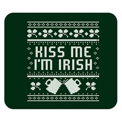 Kiss Me I m Irish Ugly Christmas Green Background Double Sided Flano Blanket (small)