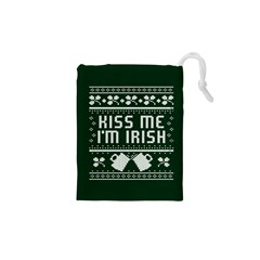 Kiss Me I m Irish Ugly Christmas Green Background Drawstring Pouches (xs)