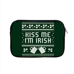 Kiss Me I m Irish Ugly Christmas Green Background Apple Macbook Pro 15  Zipper Case