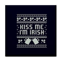 Kiss Me I m Irish Ugly Christmas Blue Background Tile Coasters