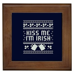 Kiss Me I m Irish Ugly Christmas Blue Background Framed Tiles