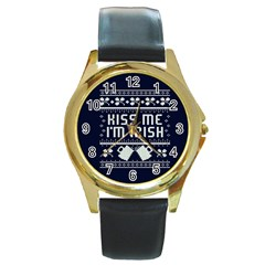 Kiss Me I m Irish Ugly Christmas Blue Background Round Gold Metal Watch