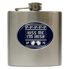Kiss Me I m Irish Ugly Christmas Blue Background Hip Flask (6 Oz)