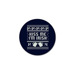 Kiss Me I m Irish Ugly Christmas Blue Background Golf Ball Marker