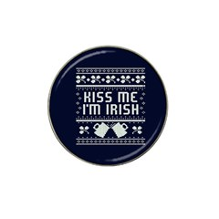 Kiss Me I m Irish Ugly Christmas Blue Background Hat Clip Ball Marker (4 Pack)