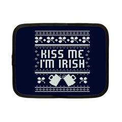 Kiss Me I m Irish Ugly Christmas Blue Background Netbook Case (small)