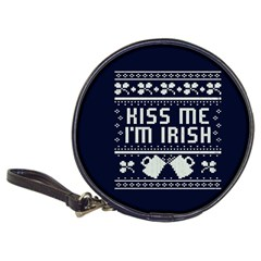 Kiss Me I m Irish Ugly Christmas Blue Background Classic 20 Cd Wallets