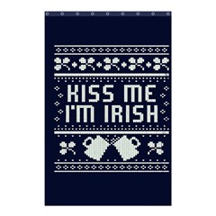 Kiss Me I m Irish Ugly Christmas Blue Background Shower Curtain 48  X 72  (small)