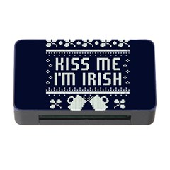 Kiss Me I m Irish Ugly Christmas Blue Background Memory Card Reader With Cf