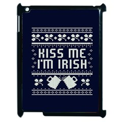 Kiss Me I m Irish Ugly Christmas Blue Background Apple Ipad 2 Case (black)
