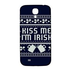 Kiss Me I m Irish Ugly Christmas Blue Background Samsung Galaxy S4 I9500/i9505  Hardshell Back Case