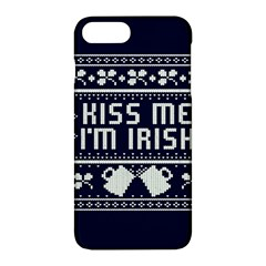 Kiss Me I m Irish Ugly Christmas Blue Background Apple Iphone 7 Plus Hardshell Case