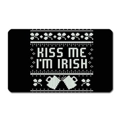 Kiss Me I m Irish Ugly Christmas Black Background Magnet (rectangular)