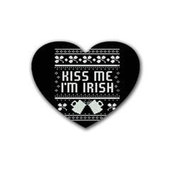 Kiss Me I m Irish Ugly Christmas Black Background Heart Coaster (4 Pack)