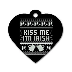 Kiss Me I m Irish Ugly Christmas Black Background Dog Tag Heart (two Sides)