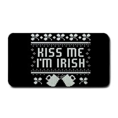 Kiss Me I m Irish Ugly Christmas Black Background Medium Bar Mats