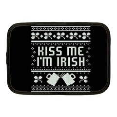 Kiss Me I m Irish Ugly Christmas Black Background Netbook Case (medium)