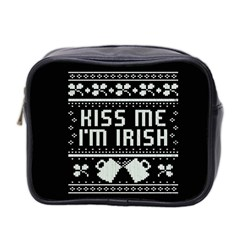 Kiss Me I m Irish Ugly Christmas Black Background Mini Toiletries Bag 2 Side