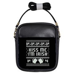 Kiss Me I m Irish Ugly Christmas Black Background Girls Sling Bags