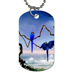 Wonderful Blue  Parrot Looking To The Ocean Dog Tag (two Sides)