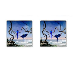 Wonderful Blue  Parrot Looking To The Ocean Cufflinks (square)