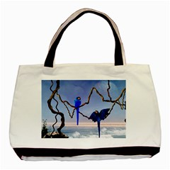 Wonderful Blue  Parrot Looking To The Ocean Basic Tote Bag