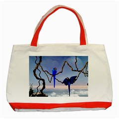 Wonderful Blue  Parrot Looking To The Ocean Classic Tote Bag (red)