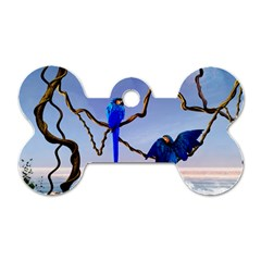 Wonderful Blue  Parrot Looking To The Ocean Dog Tag Bone (two Sides)
