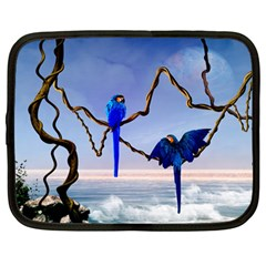 Wonderful Blue  Parrot Looking To The Ocean Netbook Case (large)