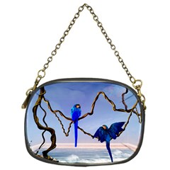 Wonderful Blue  Parrot Looking To The Ocean Chain Purses (one Side)