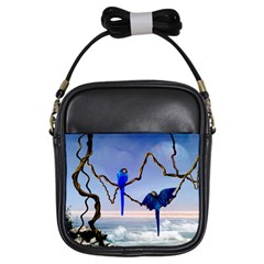 Wonderful Blue  Parrot Looking To The Ocean Girls Sling Bags