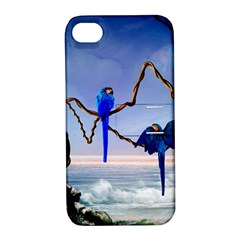 Wonderful Blue  Parrot Looking To The Ocean Apple Iphone 4/4s Hardshell Case With Stand