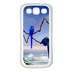 Wonderful Blue  Parrot Looking To The Ocean Samsung Galaxy S3 Back Case (white)