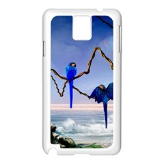 Wonderful Blue  Parrot Looking To The Ocean Samsung Galaxy Note 3 N9005 Case (white)