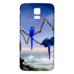 Wonderful Blue  Parrot Looking To The Ocean Samsung Galaxy S5 Back Case (white)