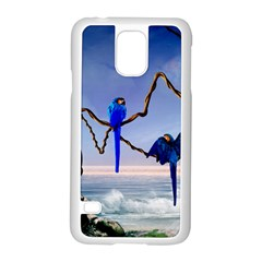 Wonderful Blue  Parrot Looking To The Ocean Samsung Galaxy S5 Case (white)