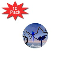 Wonderful Blue  Parrot Looking To The Ocean 1  Mini Buttons (10 Pack)