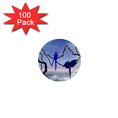 Wonderful Blue  Parrot Looking To The Ocean 1  Mini Magnets (100 Pack)
