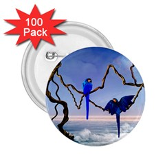 Wonderful Blue  Parrot Looking To The Ocean 2 25  Buttons (100 Pack)