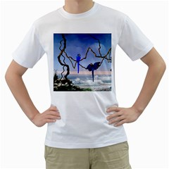 Wonderful Blue  Parrot Looking To The Ocean Men s T Shirt (white) (two Sided)