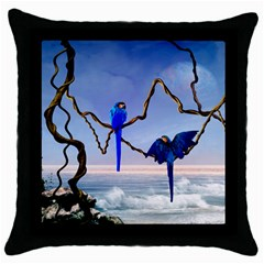 Wonderful Blue  Parrot Looking To The Ocean Throw Pillow Case (black)