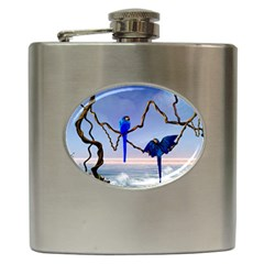 Wonderful Blue  Parrot Looking To The Ocean Hip Flask (6 Oz)