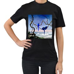 Wonderful Blue  Parrot Looking To The Ocean Women s T Shirt (black) (two Sided)