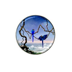 Wonderful Blue  Parrot Looking To The Ocean Hat Clip Ball Marker (4 Pack)
