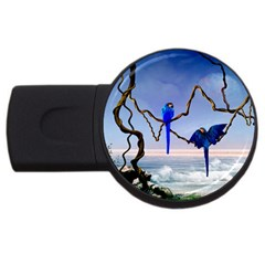 Wonderful Blue  Parrot Looking To The Ocean Usb Flash Drive Round (4 Gb)