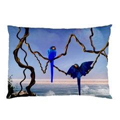 Wonderful Blue  Parrot Looking To The Ocean Pillow Case
