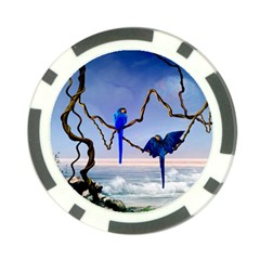 Wonderful Blue  Parrot Looking To The Ocean Poker Chip Card Guard (10 Pack)