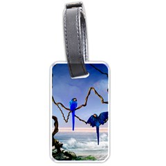 Wonderful Blue  Parrot Looking To The Ocean Luggage Tags (one Side)